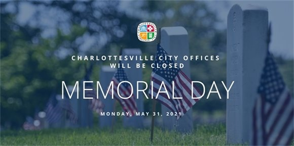 Graphic that says City Hall will be closed memorial Day