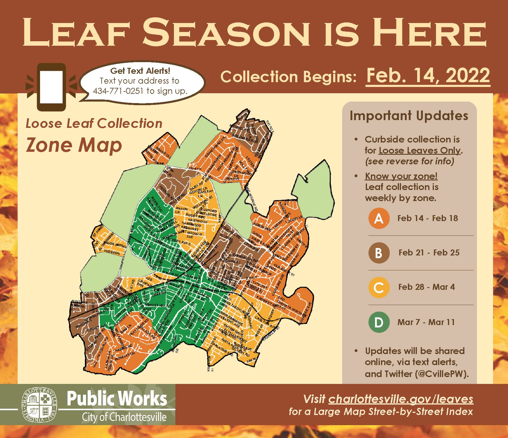 Image of the Leaf Season mailing insert & collection map.  For assistance, please call 434-970-3830.