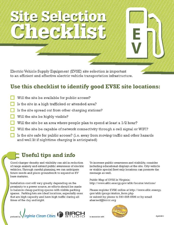 Site Selection Checklist - Opens in new window