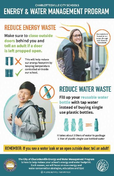 Energy and Water Management Program Winter Spring 2020 Poster message around reducing energy and wat