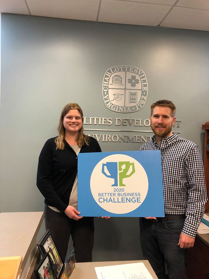 Energy and Water Management Team with Better Business Challenge sign showing Participation City of C