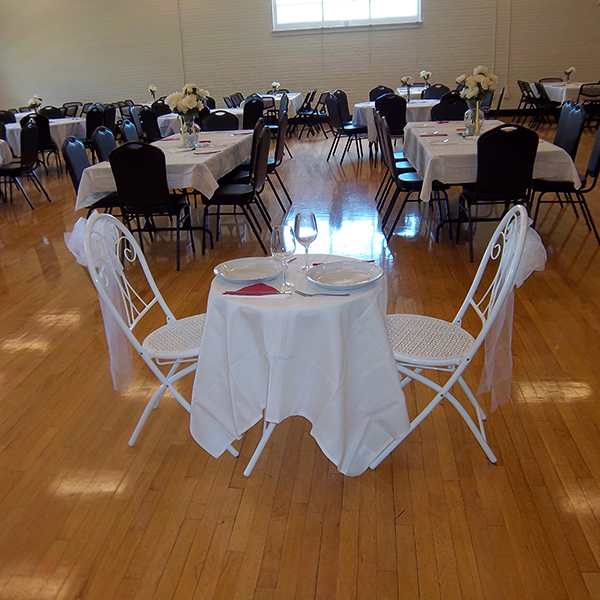 Carver gymnasium set up for a wedding