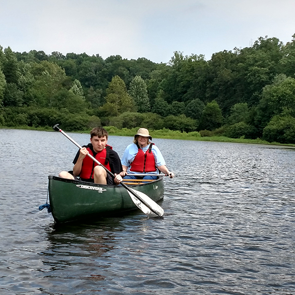 adaptive summer campers kayaking