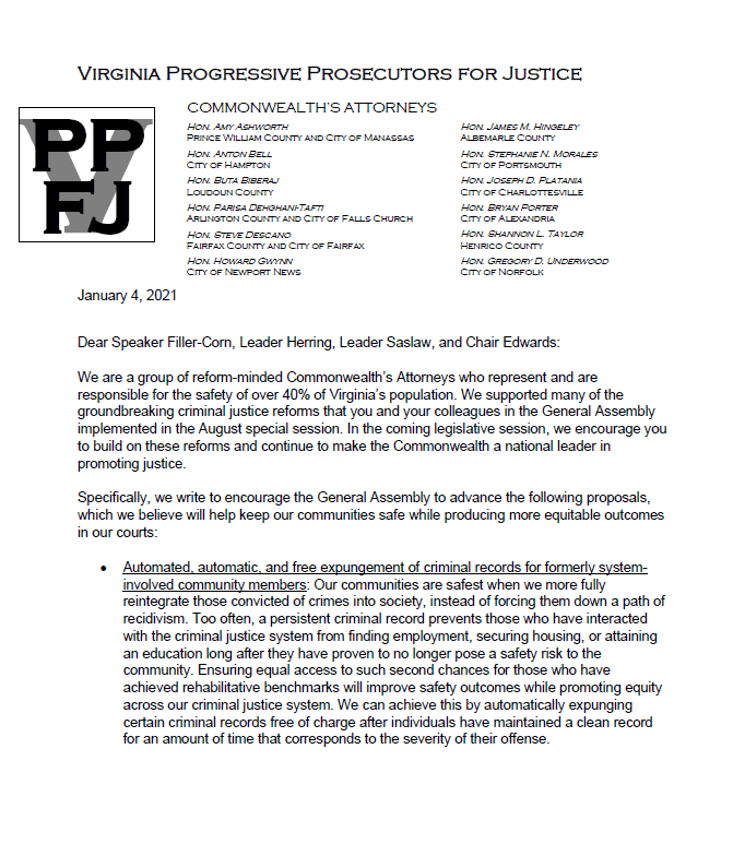 Virginia Progressive Prosecutors for Justice letter, 1/4/2021, page 1